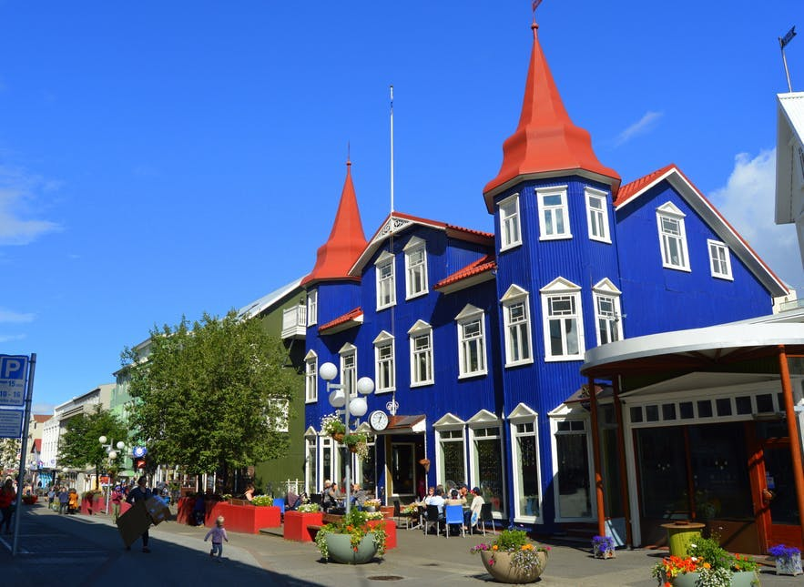 The charming main street in Akureyri