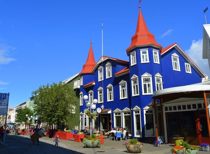 The charming main street in Akureyri