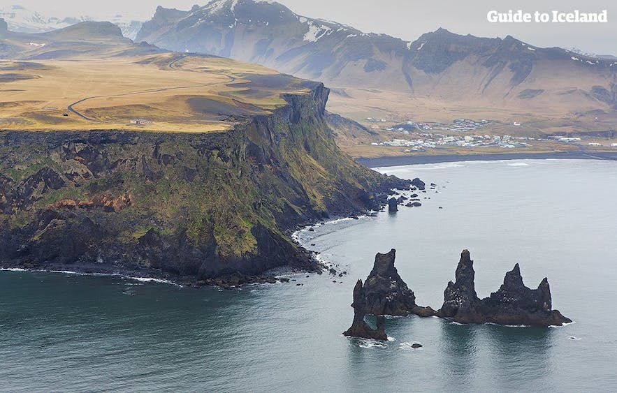 Arial view of Reynisdrangar and Mt. Reynisfjall