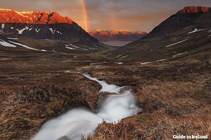 Two rainbows over the Westfjords