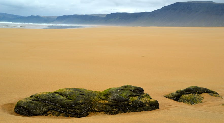 Rauðassanður beach has unusual sand for Iceland