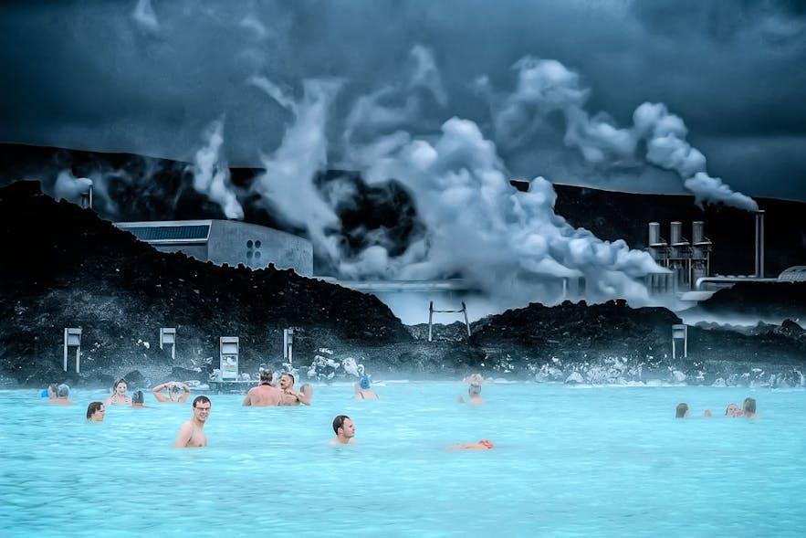 The 'Old Blue Lagoon' with Svartsengi geothermal plant