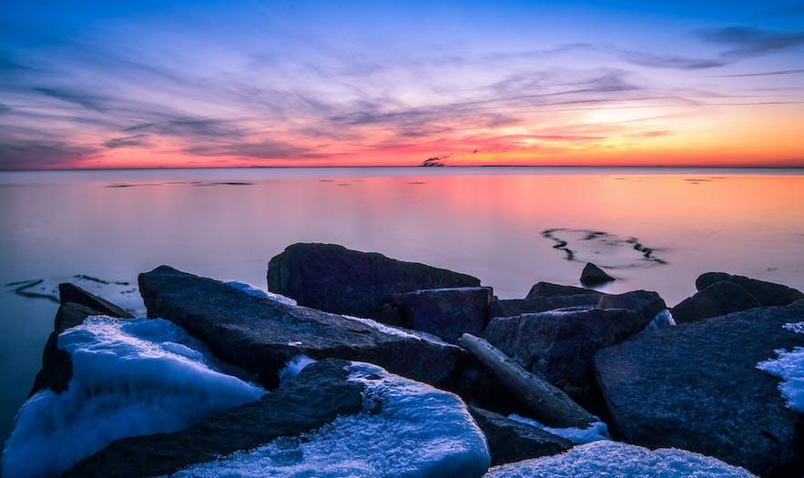 Sunset at Sandvík Beach