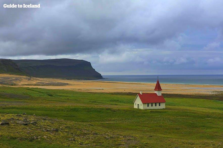 Breiðavíkurkirkja Church watching over Breiðavík Bay