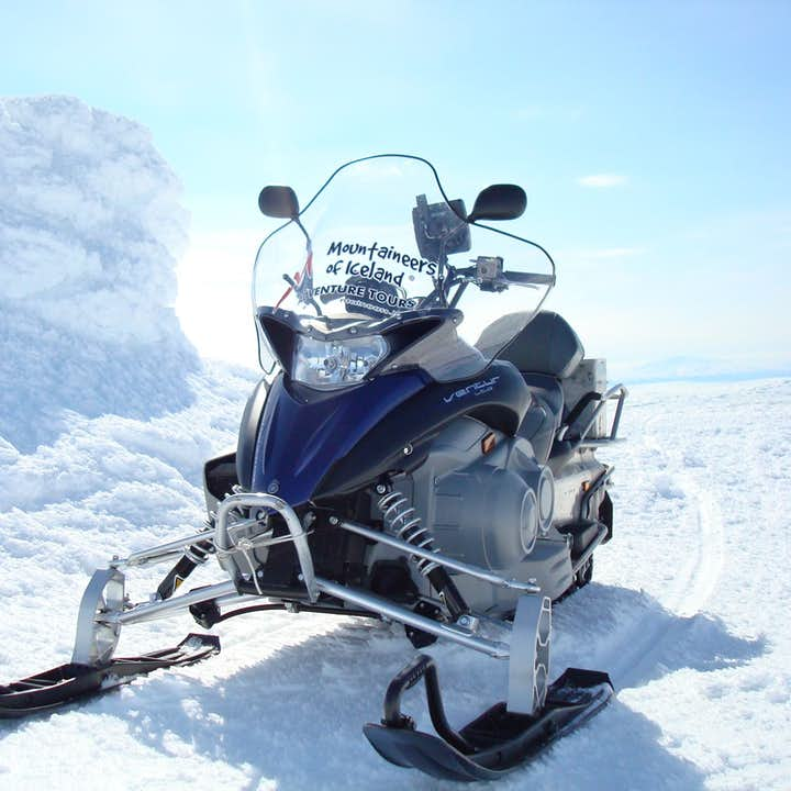 Your speedy snowmobile will take you across the surface of the glacier Langjökull for a real Iceland experience.