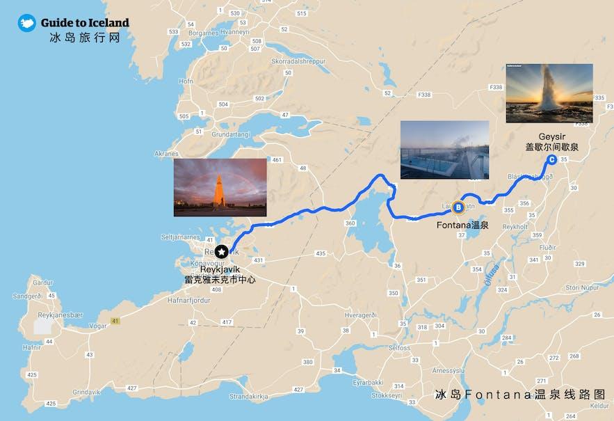 冰岛Fontana温泉线路地图