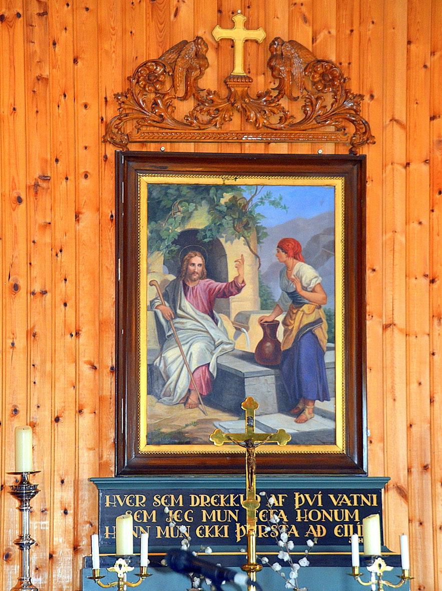 The lovely altarpiece in Eyrarbakkakirkja church