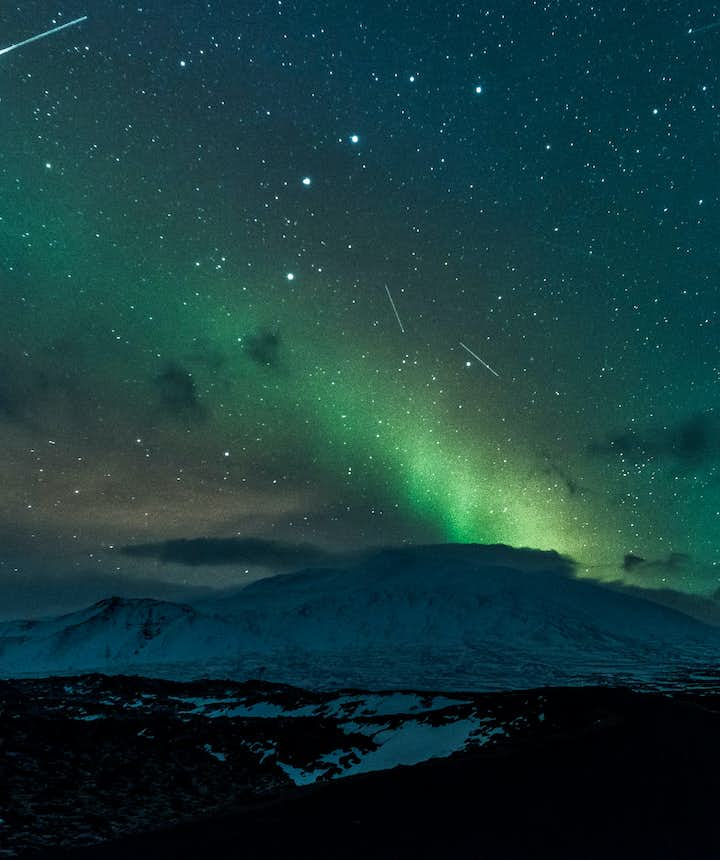 Meteor shower and Northern Lights on Snæfellsnes peninsula in Iceland