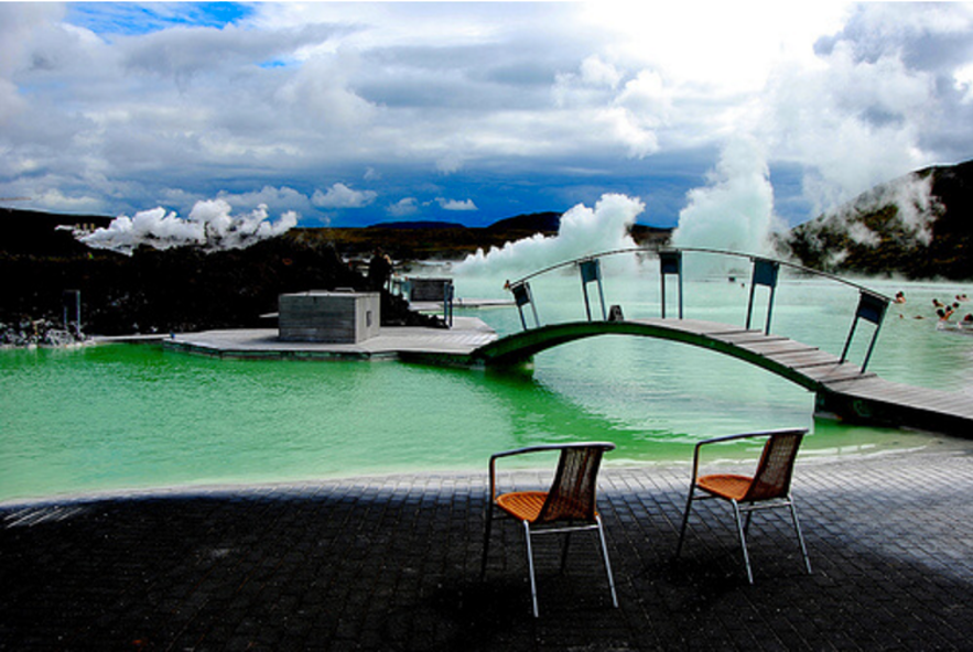 The Blue Lagoon appearing green. Picture from Tumblr.