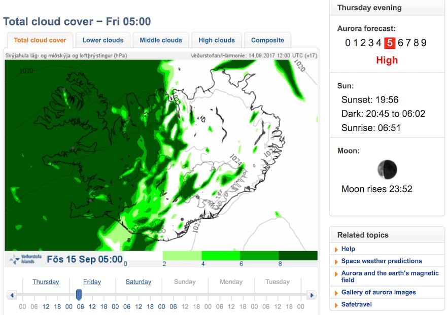 冰島極光預測網站Vedur 截圖
