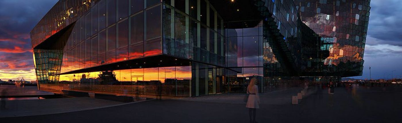 Harpa Concert Hall during sunset