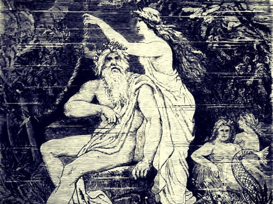 Ægir and Ran; an engraving by Friedrich Wilhelm Heine (1845-1921)