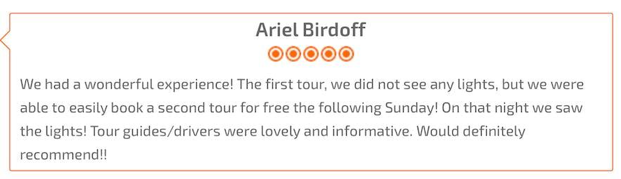 遊客對極光小巴團的Review