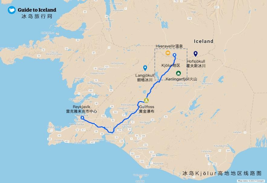 冰岛Kjölur高地地热区地图