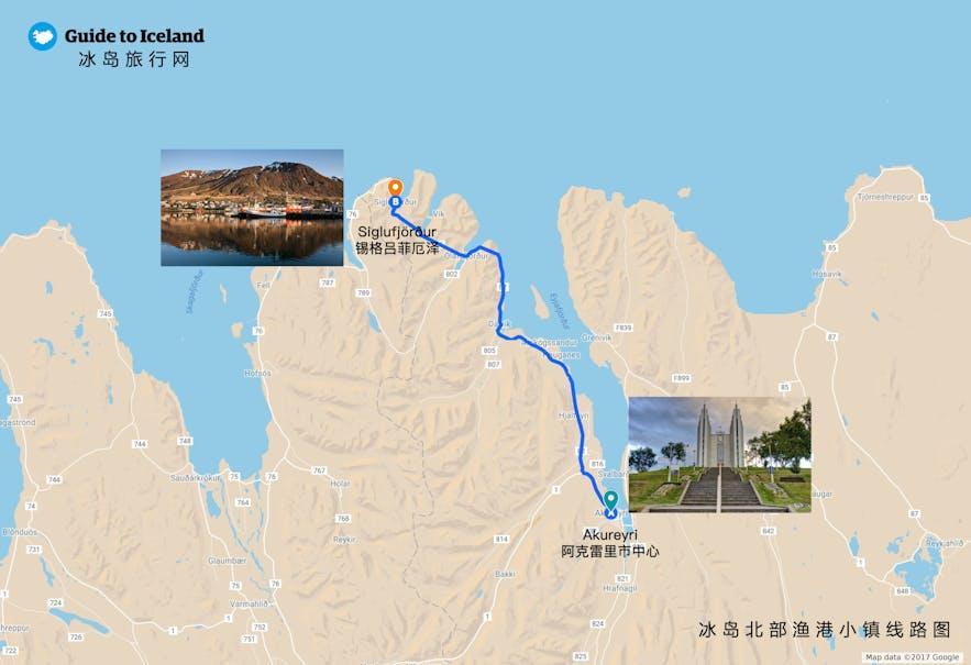 冰岛北部锡格鲁菲厄泽小镇地理位置地图