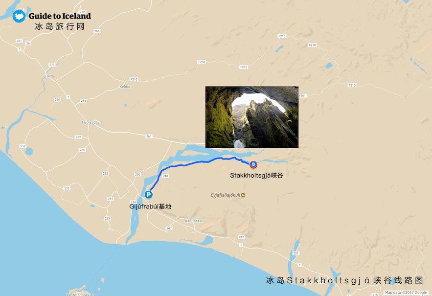 Stakkholtsgjá峡谷位置地图