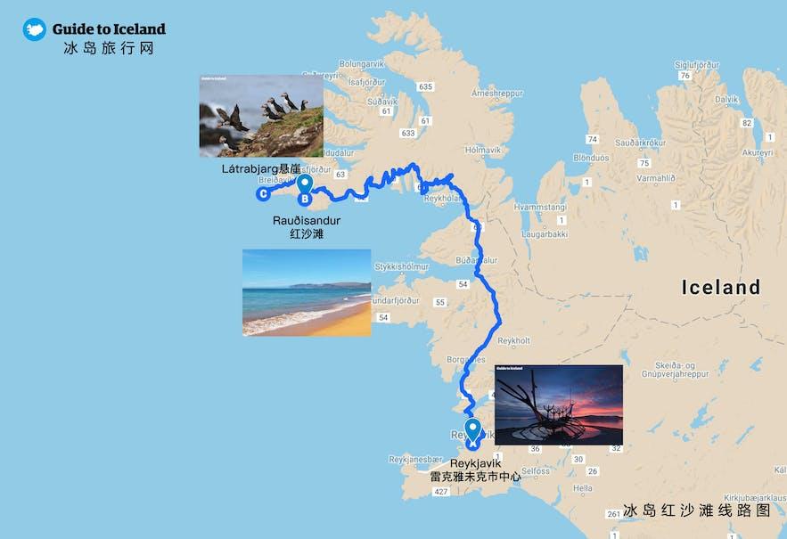 冰岛西峡湾红沙滩地图