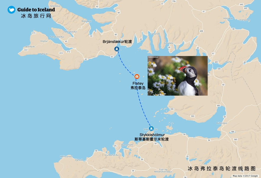 冰岛Flatey小岛地理位置地图