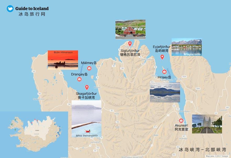 冰岛北部峡湾地图