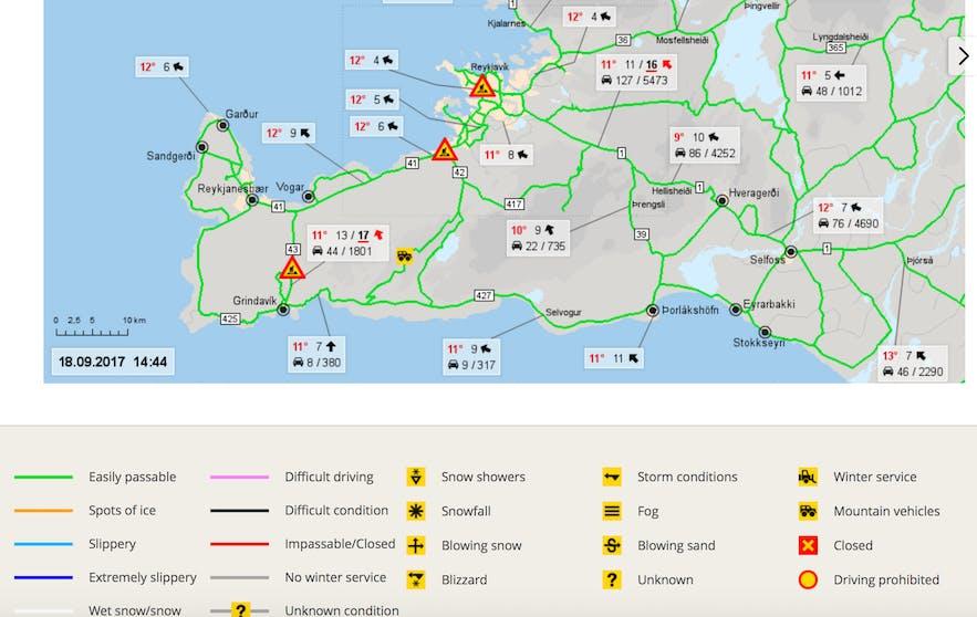 冰島道路管理局路面截圖