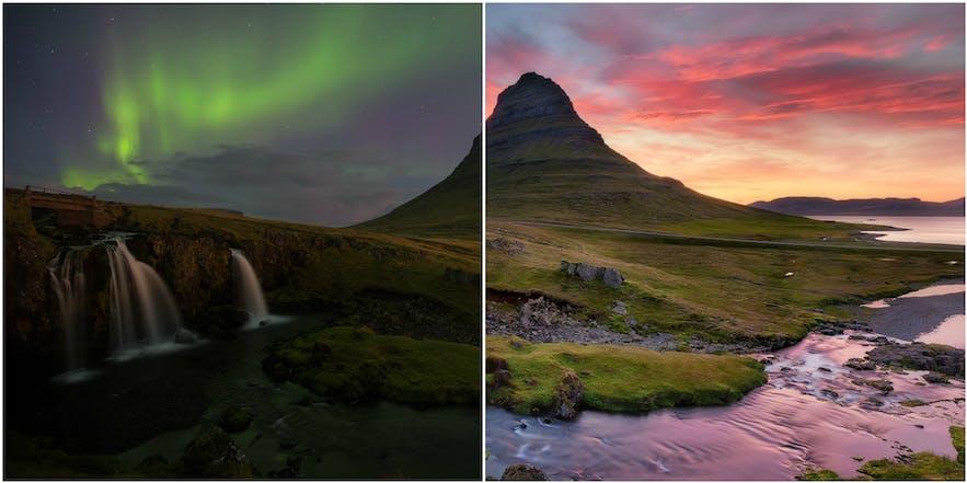 冰岛西部斯奈山半岛上的草帽山在北极光与午夜阳光下呈现冰岛冬季与夏季的不同魅力。