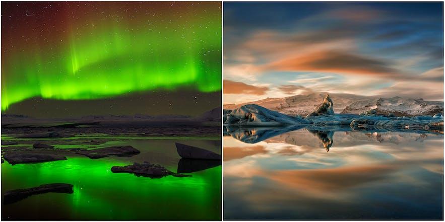 冰岛冬季北极光与夏季午夜阳光下的杰古沙龙冰河湖。