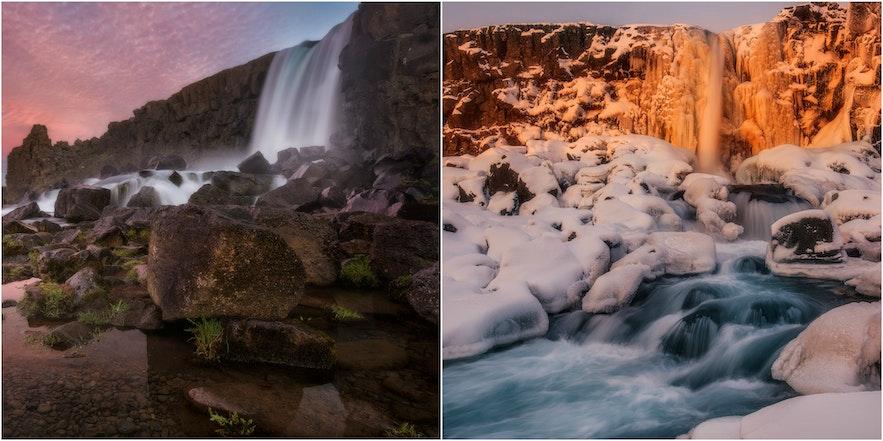 冰岛冬夏之间的强烈对比,在瀑布景色中展现得尤为明显。