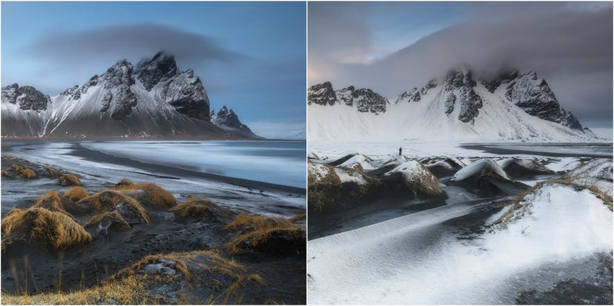 冰岛东南部的Vestrahorn山峰的冬夏对比。