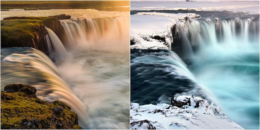 冰岛的同一座瀑布,在夏季的午夜阳光与冬季的白雪皑皑下,呈现迥然不同的景色