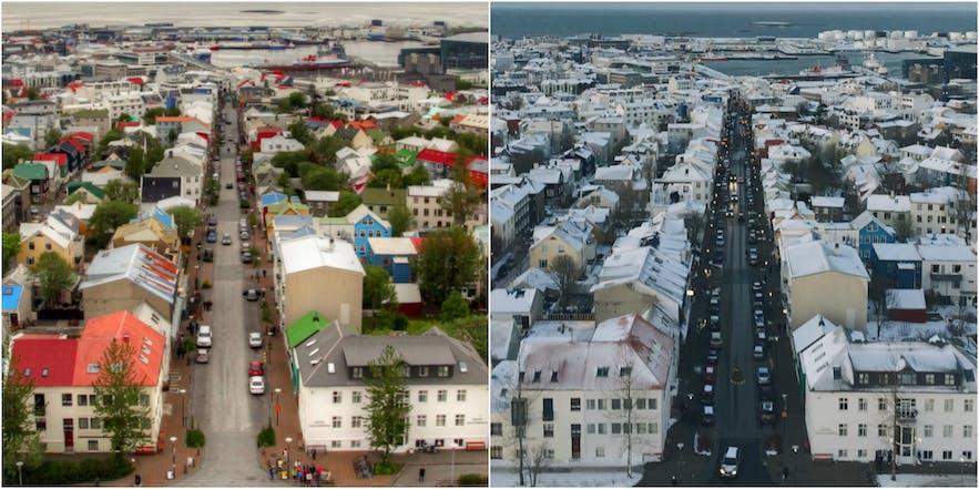 冰岛首都雷克雅未克的冬夏对比
