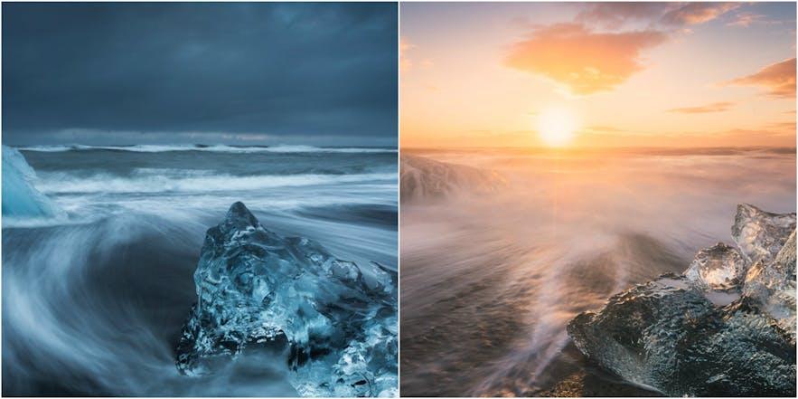 冰岛南岸杰古沙龙冰河湖的冬夏对比。夏季午夜阳光下的杰古沙龙冰河湖无比灿烂。
