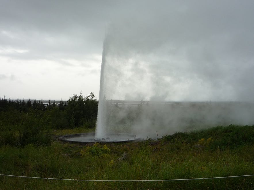Künstlicher Geysir bei Perlan in Reykjavík