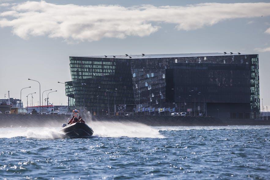 A RIB leaving Reykjavík, passing Harpa