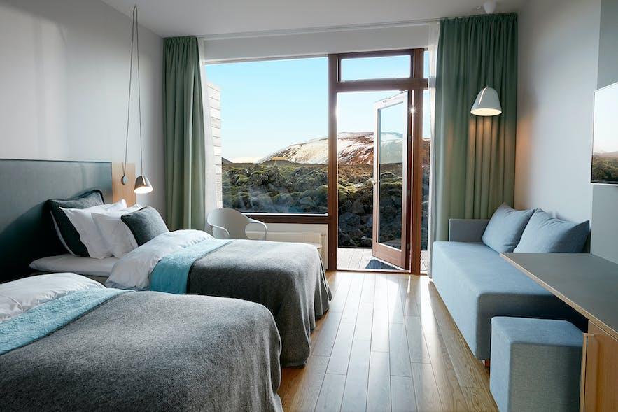 Una habitación en el Silica Hotel de la Laguna Azul