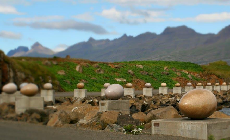 """Eggin í Gleðivík"" (""The Eggs of Merry Bay"") can be found in the village of Djupivogur."