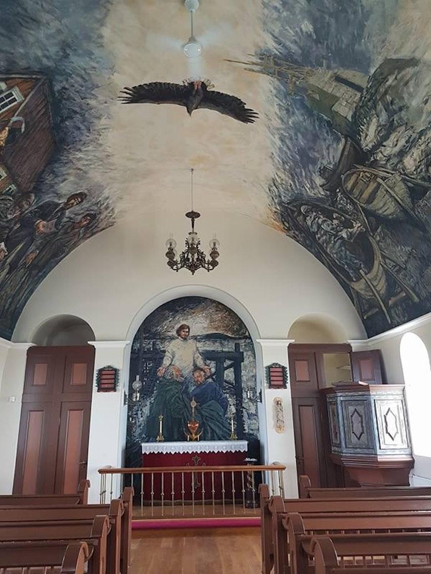 Inside Flatey Church