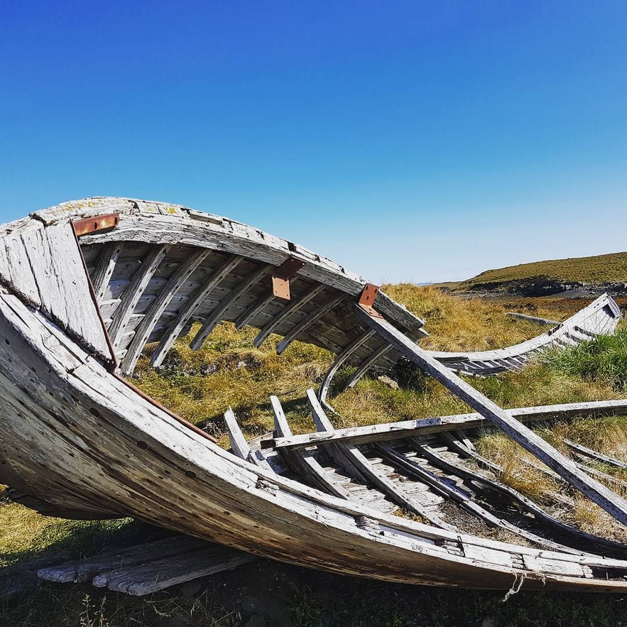 A skeleton of a ship