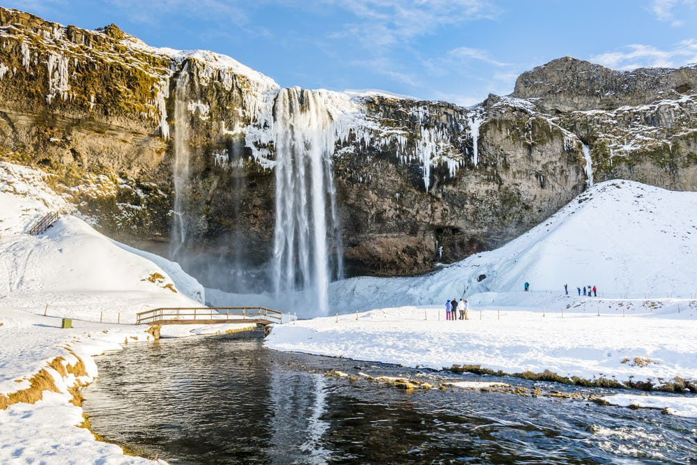 Seljalandsfoss in its winter attire is still one of the most stunning waterfalls of Iceland.