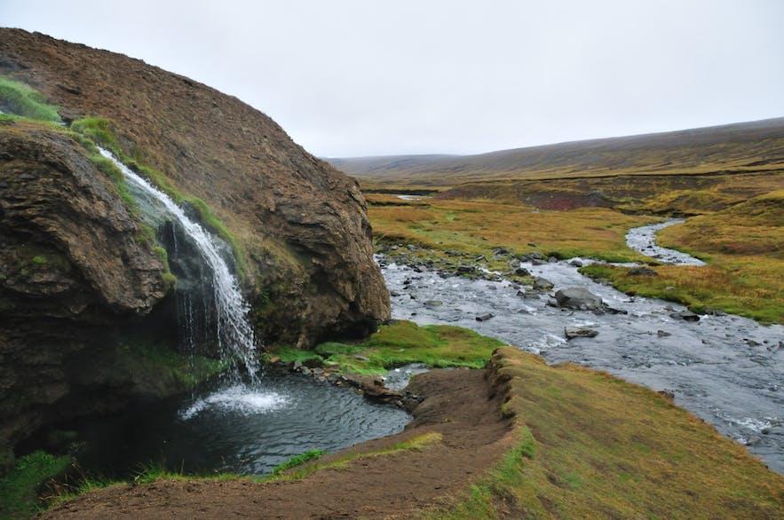 Laugarvellir geothermal pool and waterfall.
