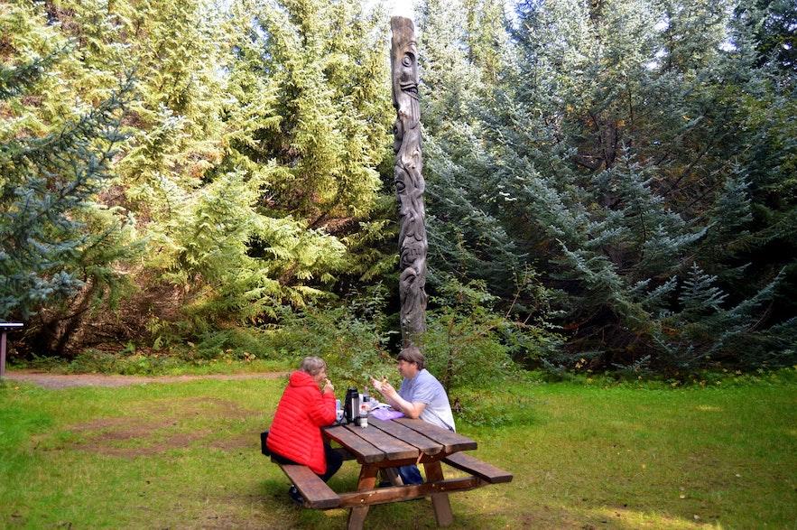 할롬스타다스코귀르 국유림은 관광, 하이킹과 피크닉 장소로 완벽한 곳입니다.
