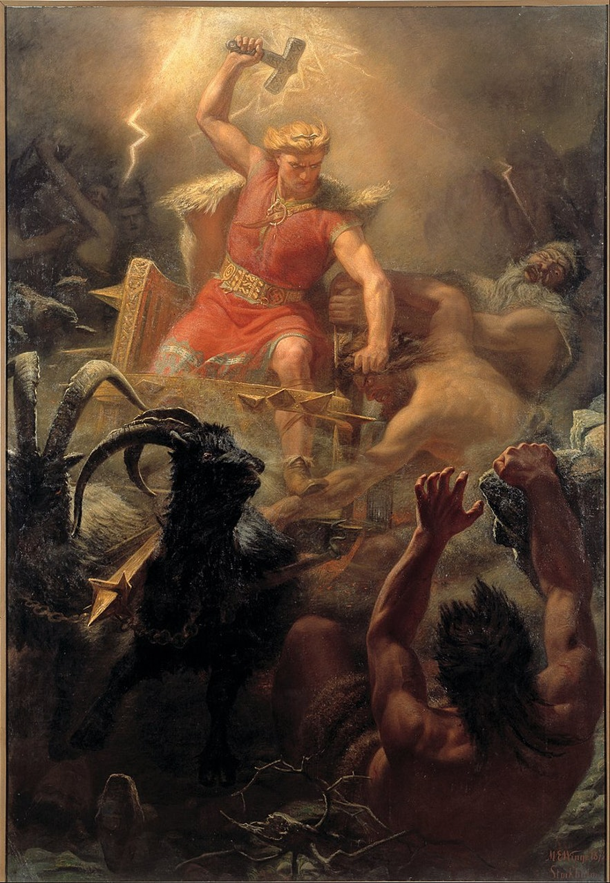 'Þór's Fight with the Giants', by Mårtin Eskil Winge, depicts one of the exciting events in Edda