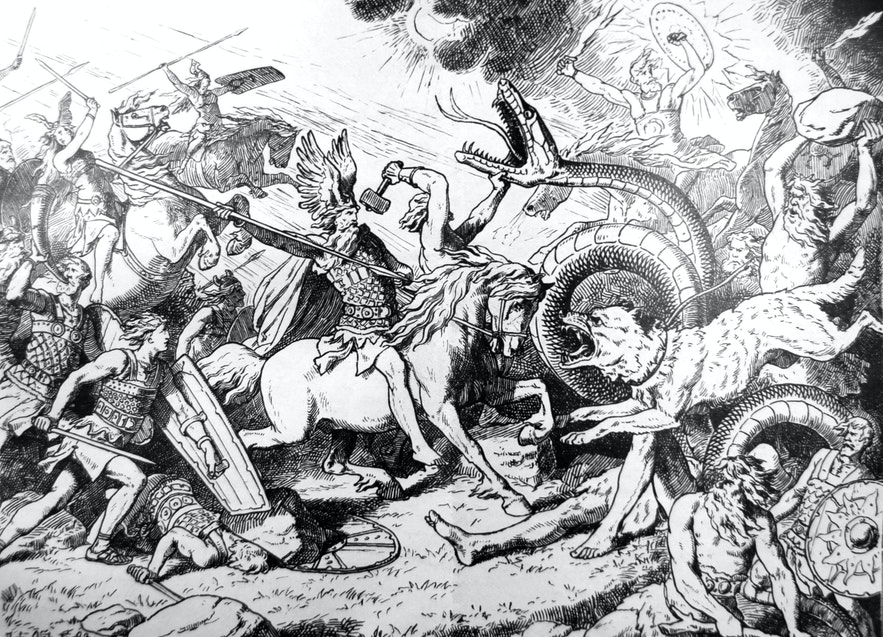 A depiction of the End Times, showing Óðinn, Þór, the Midgard Serpent and the wolf Fenrir, by Johannes Gehrts