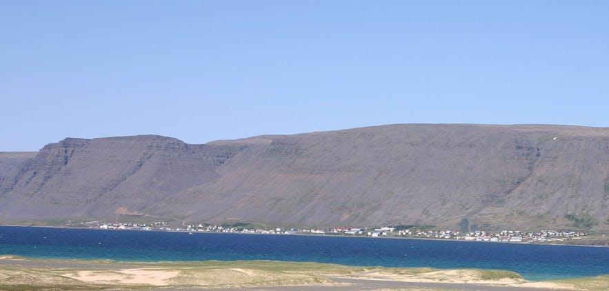 Patreksfjörður basked in the summer sun