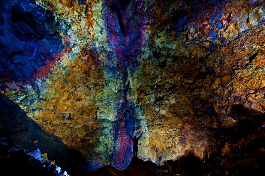 The multi-coloured inner walls of the volcano's magma chamber.
