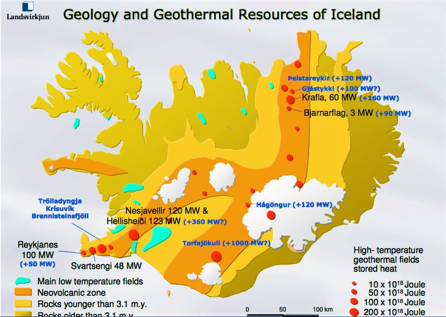 A map of Iceland showcasing the geothermal activity through its continental rift, and the power stations that occupy it