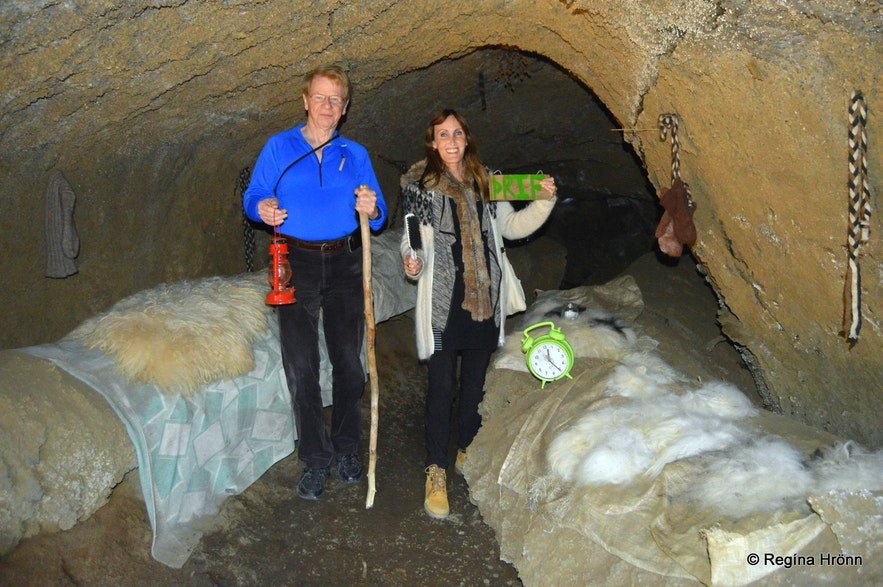 Regína and her father-in-law inside the Yule lad cave at Dimmuborgir