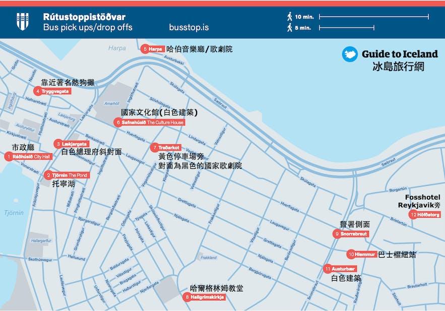 冰島101區內旅遊巴士站地圖
