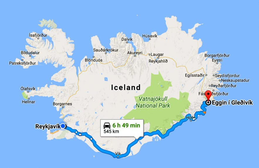 Djúpivogur Village in East-Iceland and the Eggs at Gleðivík Bay