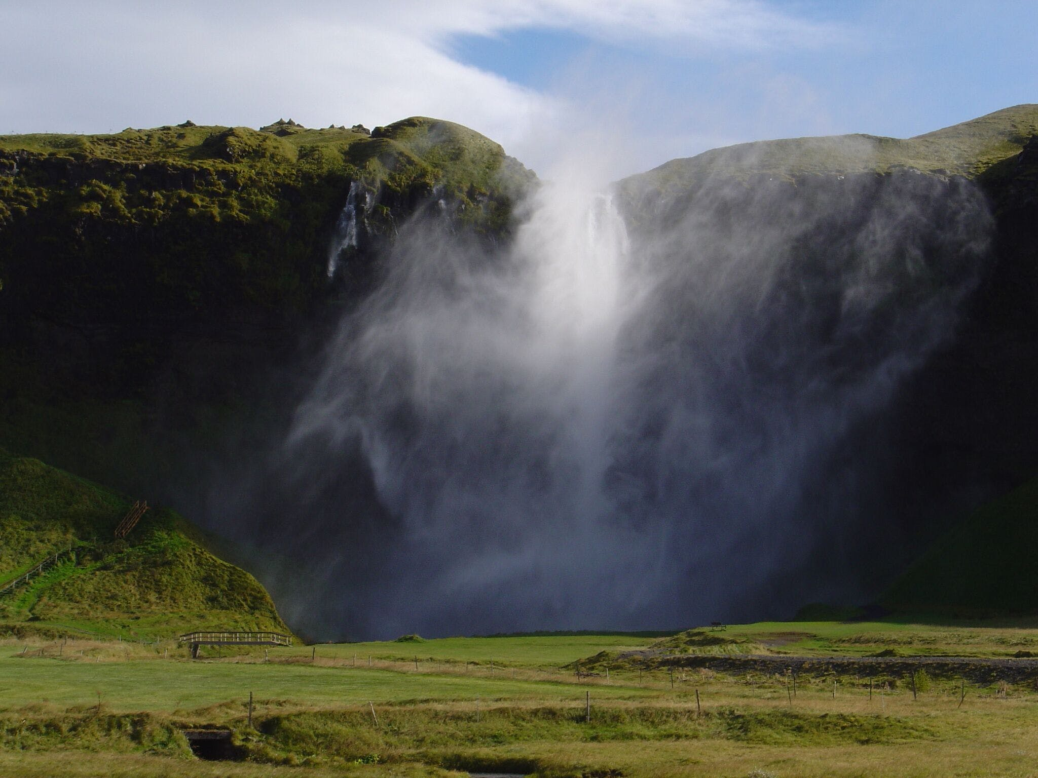 Seljalandsfoss waterfall is usually the South Coast's most serene site, but not in high winds!