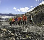 You have to take a short walk over a lava field to reach Sólheimajökull glacier tongue.